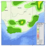 Map of South Africa showing earthquake risk