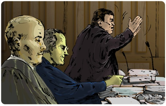 Drawing of advocate Oosthuisen arguing before the high court, with advocate Unterhalter and assistant