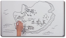 A frame from a video showing a whiteboard drawing of South AFrica and nuclear and renewable energy installations