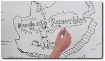 Frame from a video showing a whiteboard with a drawing of South Africa facing a choice between nuclear and renewable energy