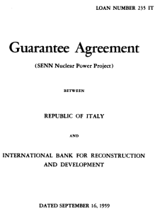Title page of Italian government loan guarantee for World bank nulcear loan