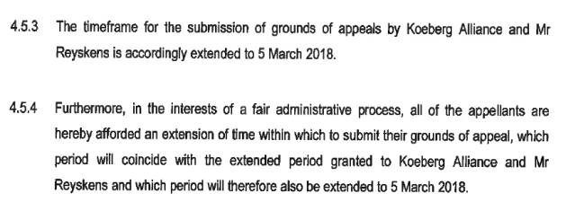 Two paragraphs from the formal letter granting extension of the appeal period for Nuclear-1 authorisation