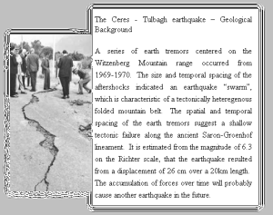 Photo of a crack in the road and an article about the 1969 Ceres earthquake