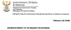 Letter from DEFF EIA supplemental submission extension granted