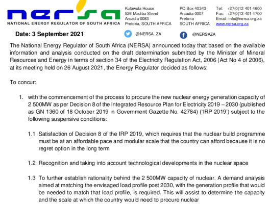 NERSA conditional concurrence with new nuclear